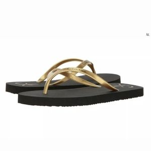 Calvin Klein Sarinah Gold Flip Flops Sandals